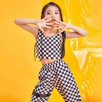 2019 Children'S Jazz Dance Costumes Hip Hop Girls Street Dance Set Tops Pants 2 Pieces Suit Korean Plaid Dance Clothes DL3686