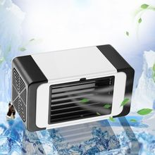 USB Air Cooler Mini Portable Silent Air Conditioner Fan Water Cooling Fan Noiseless Evaporative Air Humidifier for Room Office evaporative air conditioner air cooler fan indoor portable cool humidifier battery operated with quiet 2 speed air cooling fan