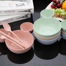 4PCS/SET Wheat Wtraw Bowl Children Cartoon Tableware Set Baby Dinner Plate Training Spoon Fork Chopsticks for Kids