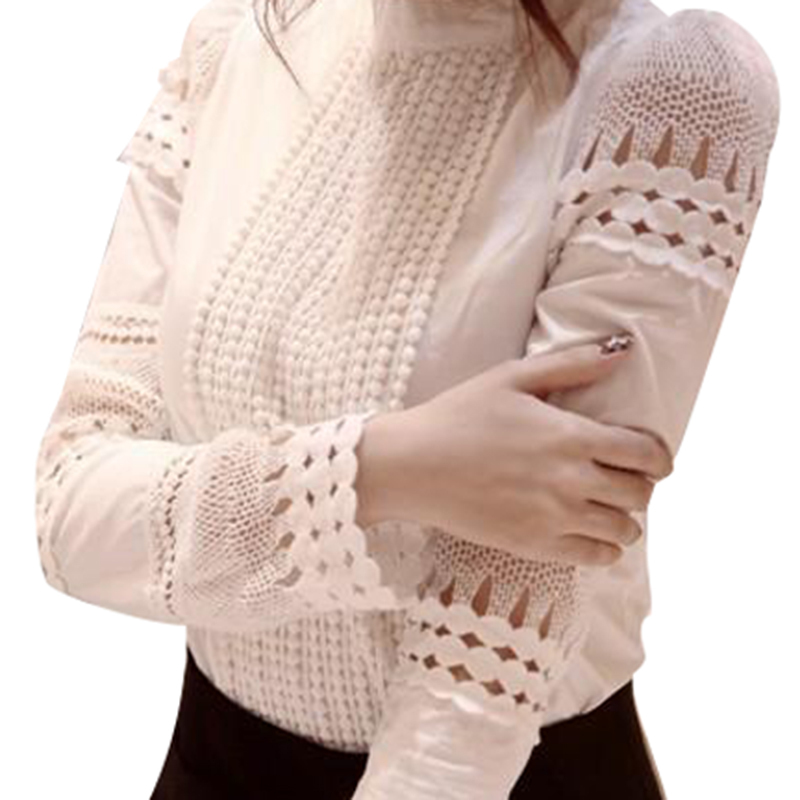 Women Chiffon Blouse Shirt Elegant 2017 Women Office Blouses Plus Size Hollow Out Lace Work Wear Blusas Femininas QAF176C