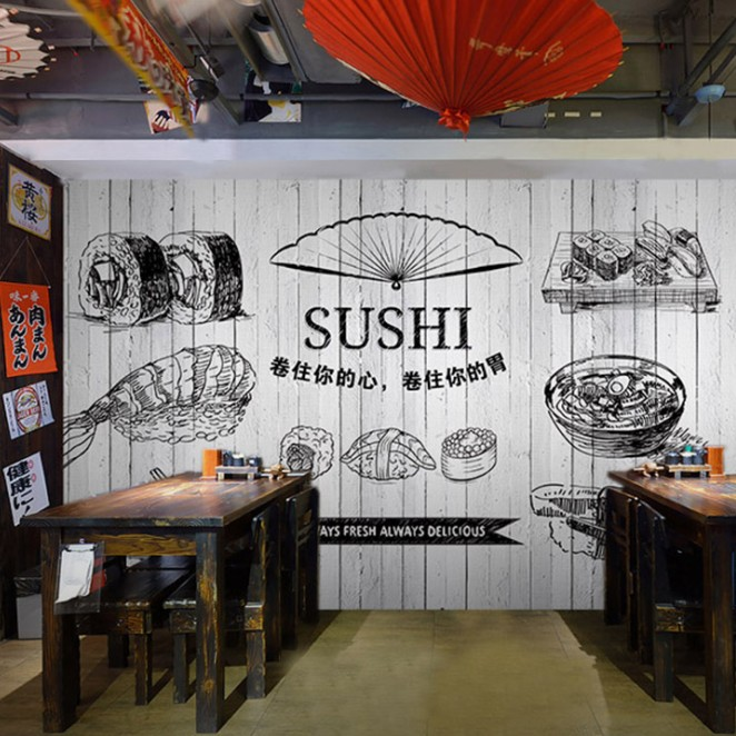 Custom Size Photo 3D Sushi drinks mural restaurant snack bar background wall coffee house kitchen tea house wallpaper mural