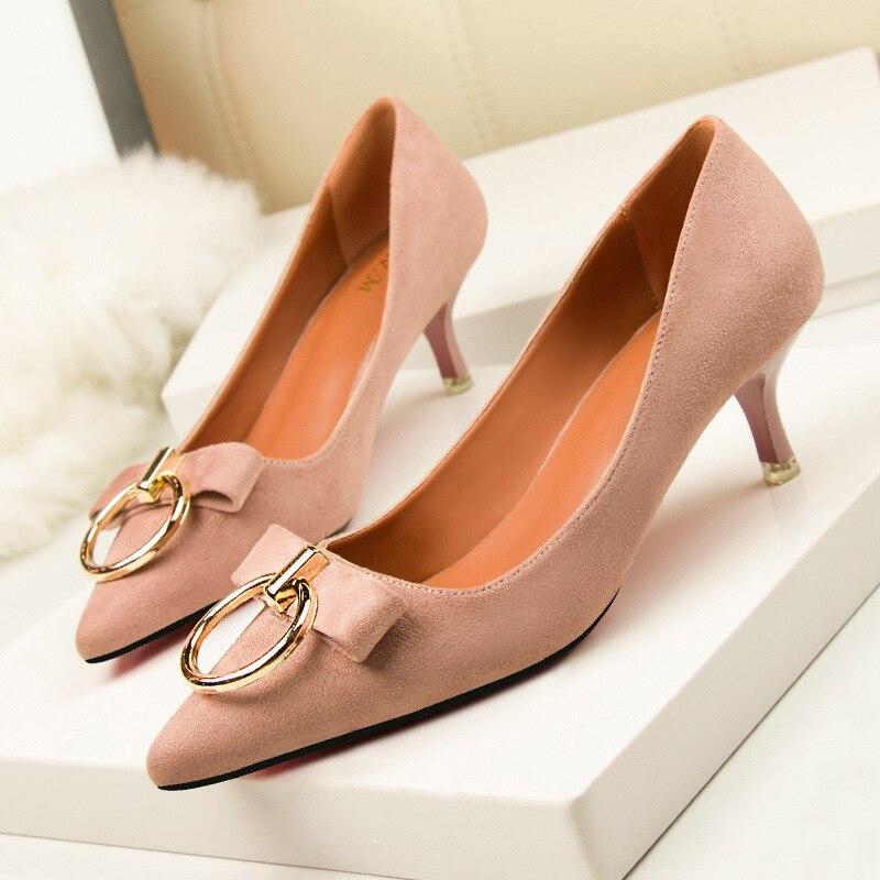 2017 мода sexy женская обувь тонкий высокий каблук 4.5 см насосы платформы 0.5 см мелкой указал стадо пряжки