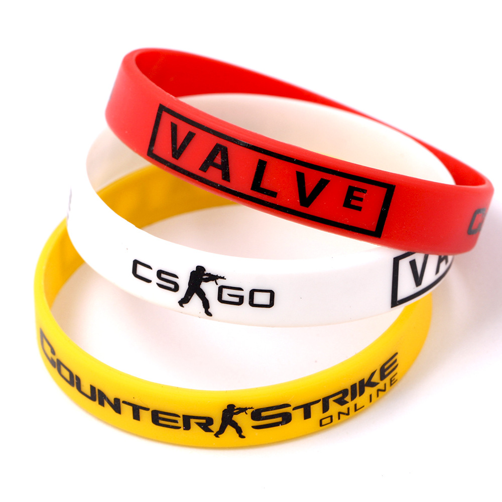 Games Play CS GO Silicone Rubber Diabetes Bracelets for Best Friends CSGO Braclet Red Yellow White Braslet For Male Pulsera