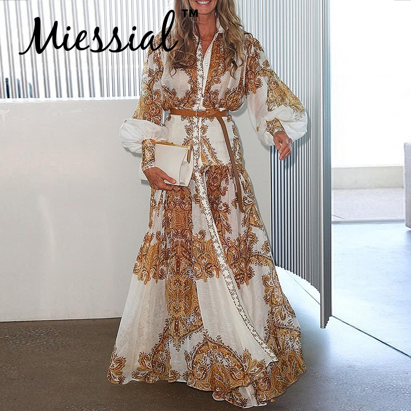 Miessial White Elegant Vintage Women Shirt Dress Ladies Autumn Long Sleeve Maxi Boho Dress Winter Sexy Beach Party Night Dress