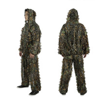 Outdoor Ghillie Suits Camouflage Hunting Cloth Woodland Hunting Outfit Military 3D Disguise Uniform Suits Set Sniper Camo Suit