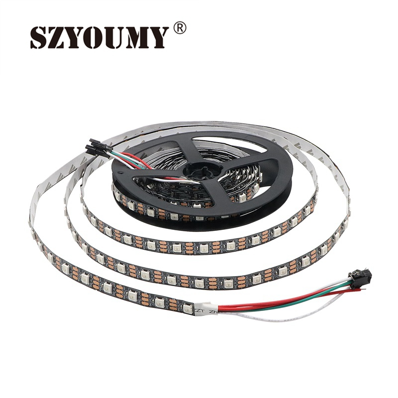 SZYOUMY DC5V Led Strip WS 2812 5M 300 Leds 60 Pixels/M Non-waterproof 5050 SMD RGB Programmable Addressable Led Strip Lights 5m ws2801 raspberry pi control led strip 32leds m external 2801 ic arduino development ambilight dc5v non waterproof 5050 smd