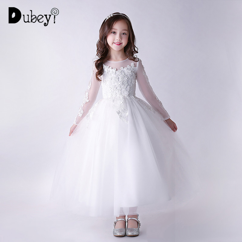New Teenager Girls White Wedding Birthday Party Princess Dress Autumn Winter Elegant Flower Girl Lace Long