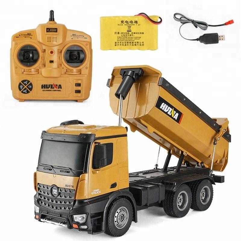 Oyuncaklar ve Hobi Ürünleri'ten RC Arabalar'de HUINA Oyuncaklar 1573 573 1/14 10CH Alaşım RC damperli kamyonlar Mühendislik Inşaat Araba Uzaktan Kumandalı Araç Oyuncak RTR'da  Grup 1