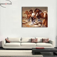 OKHOTCN Framed Pictures Coloring By Numbers Hand Painted Canvas DIY Oil Painting Horses Running Scenery Digital