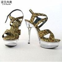 Nightclub Sexy Leopard Shoes Woman 4 CM Platform Gladiator Sandals Transparent Crystal 14 CM High Heels