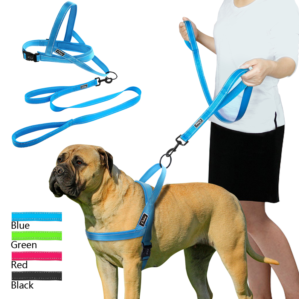 Sin tirar de arnés reflectante para perros juego de correa para mascotas Chaleco de plomo para perros pequeños Meduim grandes perfecto para entrenamiento diario caminar XXS-L