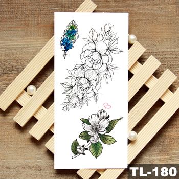 Lotus Peony Rose Flowers Waterproof Temporary Tattoo Sticker  Minimalist Flash Tattoos Body Art Fake Arm tatoo Women 5