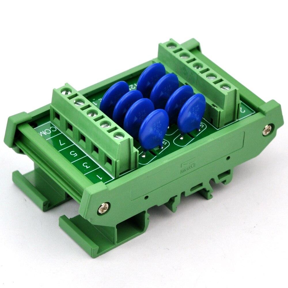 8 Channels Common DIN Rail 30V SIOV Varistor Surge Protection SPD Module.