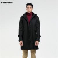 2016 Latest Single Breasted Hooded Plus Size Trench Coat For Mens Fall Overcoat England Mens Black