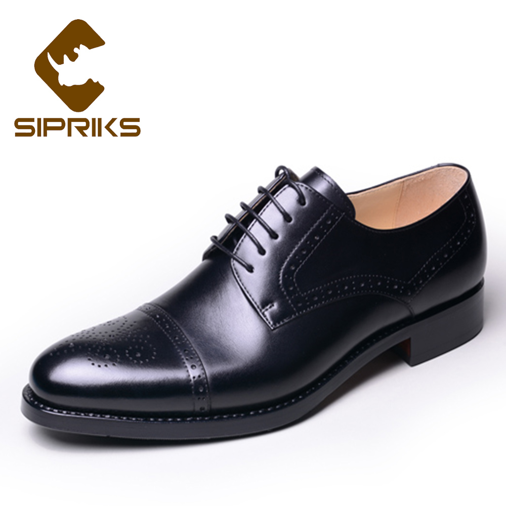 d8aaf422dded SIPRIKS luxury imported italian black calf leather brogue shoes medallion  custom goodyear welt dress shoes outsole with rubber