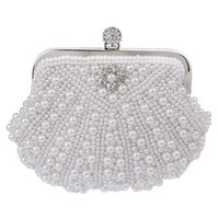 Luxury Two Sided Pearl Women Evening Party Clutch Bag Chain Purse Wedding Party Bridal Bags Mini
