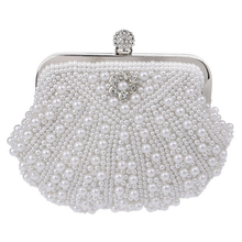 Luxury Two-Sided Pearl Women Evening Party Clutch Bag Chain Purse Wedding Party Bridal Bags Mini Vintage Shell Handbags Hot Sale
