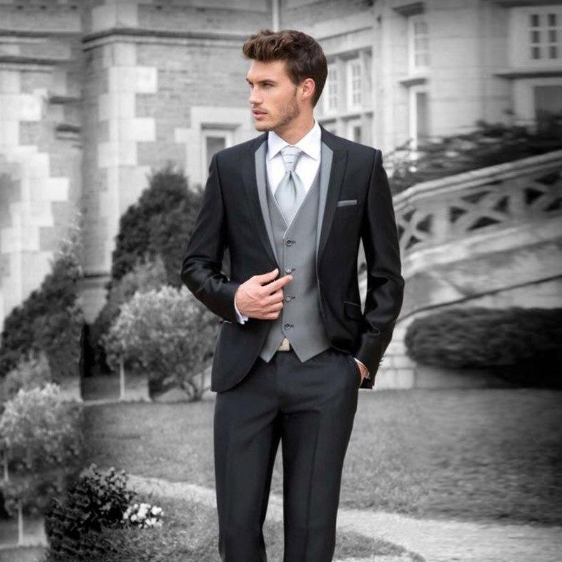 Italian Retro Custom Made Black Wedding Suits for Men Blazers Jacket 3 Pieces Pants Gray Vest Slim Fit Groom Tuxedos Ternos
