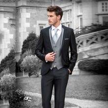 8485b70b7abe2 Italyan Retro Özel Made Siyah Erkekler için Düğün Takım Elbise Blazers  Ceket 3 parça Pantolon Gri Yelek Slim Fit Damat Smokin te.