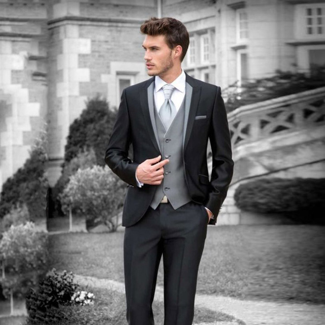italian retro custom made black wedding suits for men