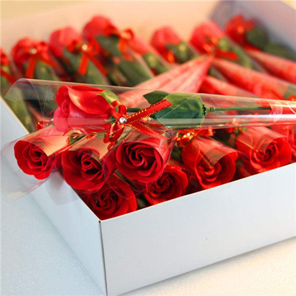Hot Sale 1PC Rose Shaped Soap Decoration Soap Rose Flower Petals Bath Soap Essential Oil Rose Soap Valentine's Day Gift