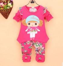 Kids Girl Wear 2017 Spring Long Sleeve Kits for Baby Girls Doll Floral Print Infant Clothing Suits Toddler Girls Outfit QHQ059