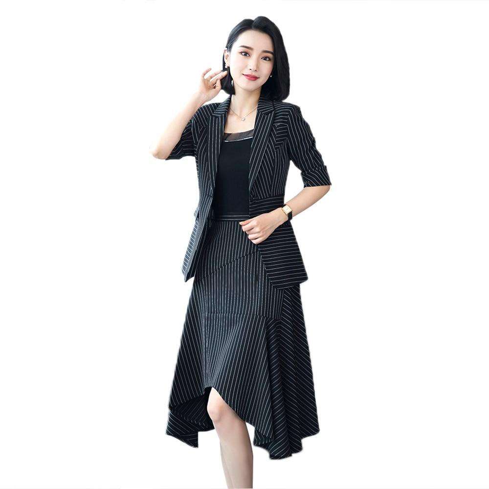 women two piece set office dress suits & blazer plus size elegant asymmetrical skirt summer bodycon office dress set 2018