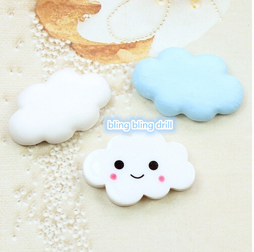 50pcs/lot 25*18mm flat back resin smile white cloud for Scrapbooking Craft Cabochon For Hair Cellphone Decoration