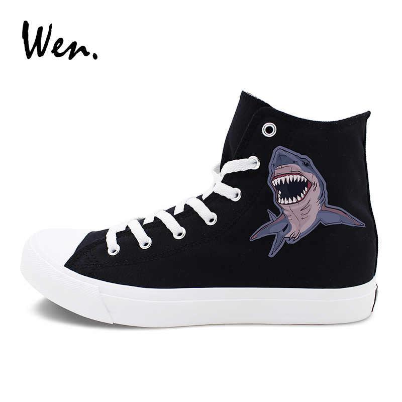 Вэнь оригинальный дизайн морской серии животных парусиновая обувь Акула Осьминог Краб спортивные кроссовки спортивные унисекс высокие плимсоллы на плоской подошве