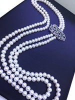 natural long fresh water pearl necklace nearround cultured pearl real 925 sterling silver with cubic zircon multi layer