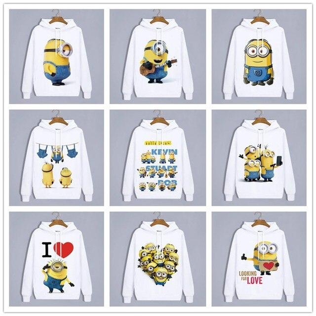 Sudaderas con capucha de invierno Anime Minions Harajuku adorables amantes ropa Unisex adultos ropa Casual Sudadera con capucha Tops