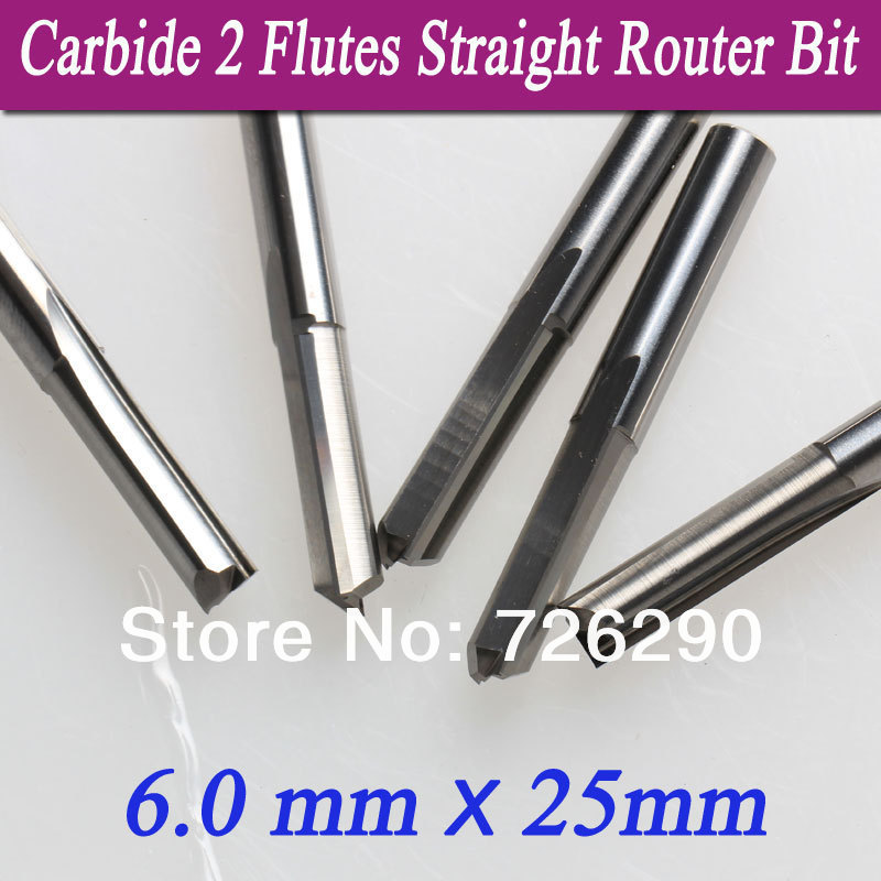 CNC Router Blade 5pcs//lot 6*25mm Two Straight Flute Mills //Wood Cutter Tools