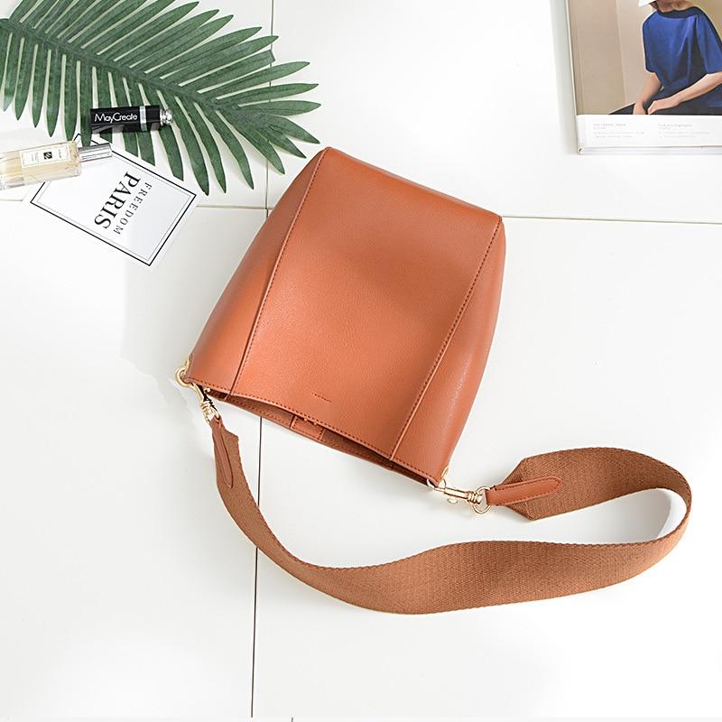 new genuine leather women bucket bag crossbody wide shoulder belt women bag soft leather napa fashion female handbag