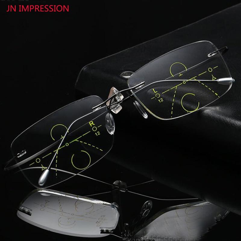 Reading-Glasses Eyewear Multifocal Jn Impression Rimless Ultralight Hyperopia Titanium