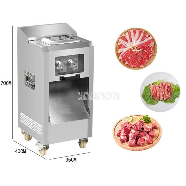 3.5mm Blade Spacing Commercial Meat Slicer Cutter Stainless Steel Electric Automatic Meat Slice Strip Cutting Machine 400kg/h 2