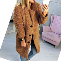 European and American autumn and winter new suit collar long long sleeved fur coat