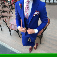 Gray Mens Wedding Tuxedos Tailor Made Peaked Lapel Terno Masculino Slim Fit Male Blazer Jacket Skinny Male Suit 3 Piece