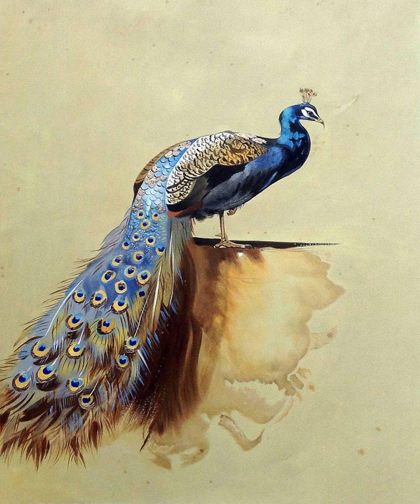 Toile peinte à la main peinture à l'huile animale pour la décoration murale de cuisine Art paon (ligne de luxe) par Archibald Thorburn