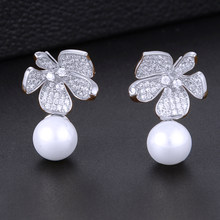 GODKI Fashion Simulated Pearl Flower Crystal Cubic Zirconia Women Stud Earrings for Wedding Jewelry pendientes mujer mod 2018(China)