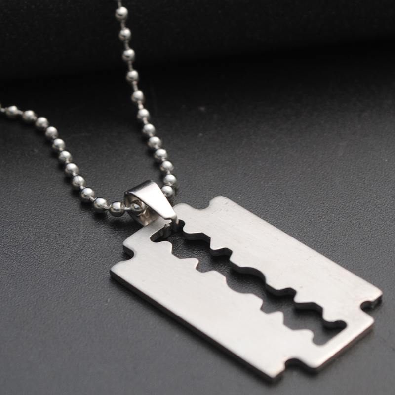 1pc silver color cool boy razor blade pendant chain stainless 1pc silver color cool boy razor blade pendant chain stainless steel man necklace leather choker charm women simple jewelry gift in pendant necklaces from thecheapjerseys Choice Image