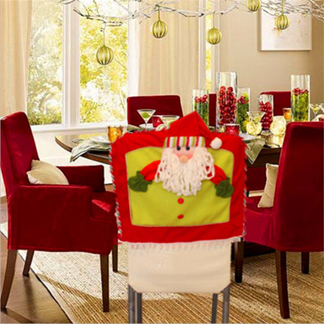 Christmas Party Decoration Seat Cover Santa Snowman Elk Hat Dinner Chair Covers XMAS Gift Products