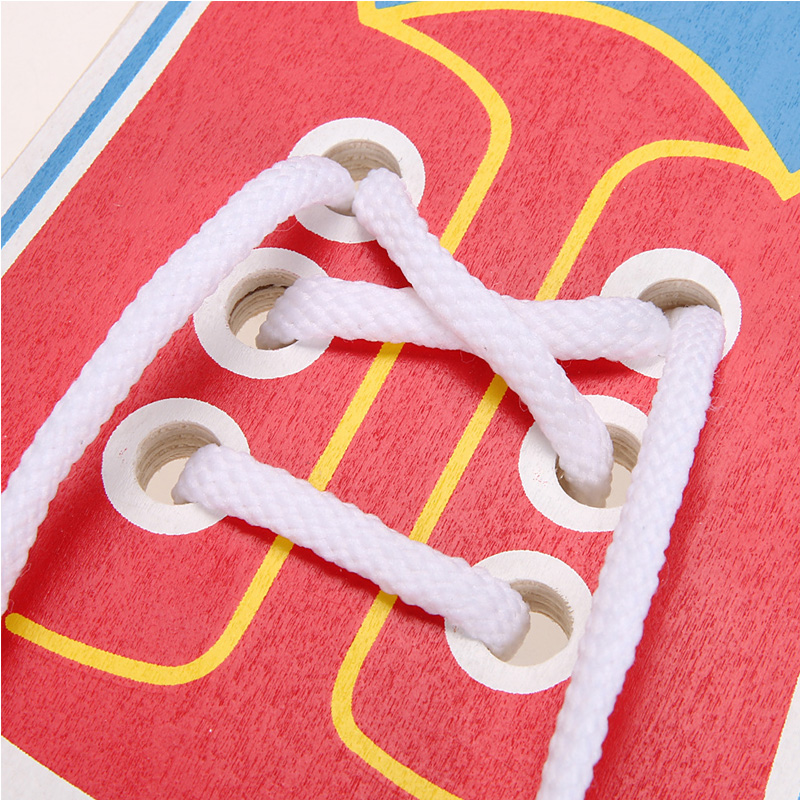 Montessori Toys Educational Wooden Toys for Children Early Learning Teaching Lacing Shoes Kids Tie Shoelaces 1PCS