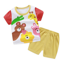 2pcs New Born Baby Boys Girls Summer Thin Clothing Infant Cartoon Cotton Short Sleeved Suit Kids Tshirt + Shorts Sport