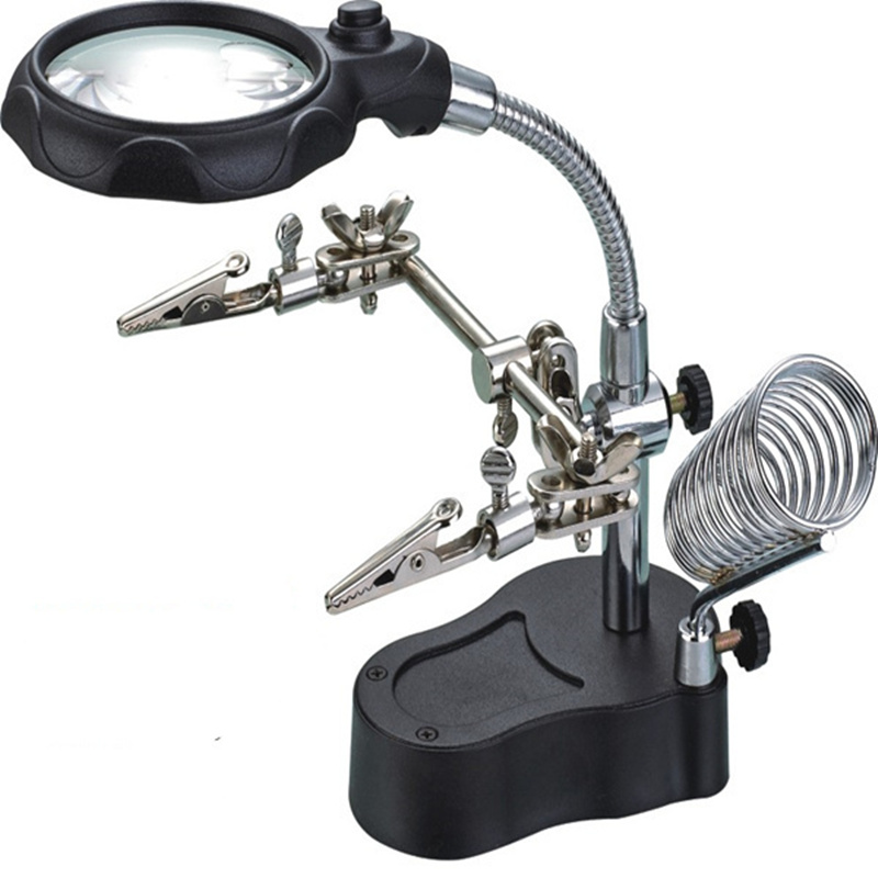 3 5x 12x magnifier loupe with led light soldering iron stand magnifying glass Auxiliary Clip repair