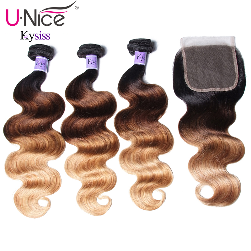 Unice Hair Kysiss Series Ombre 3 Bundles With Closure T1b/4/27 Peruvian Body Wave Bundles Unprocessed Virgin Hair 4pcs For Fast Shipping Hair Extensions & Wigs Human Hair Weaves