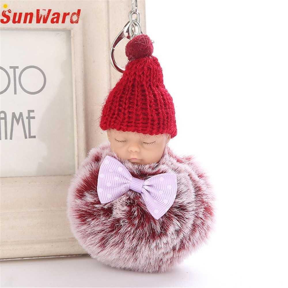 Otoky Hot Koop 1 Pc 8 Cm Leuke Bal Sleutelhanger Hanger Vrouwen Sleutelhanger Houder Pompoms Sleutelhangers Voor Gift slapen Baby Pop Sleutelhanger