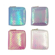 KANDRA 2019 Fashion Women Hologram Mermaid Motif Short Wallets Coin Purse Zipper Cute Ladies Card Holders Wholesale