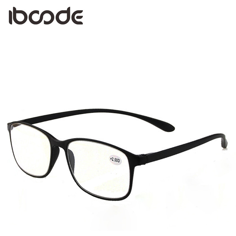 Men's Reading Glasses Iboode Big Frame Reading Glasses For Elderly Super Light Flexible Book Paper Reading Eyeglasses Men Women Presbyopic Glass Shrink-Proof
