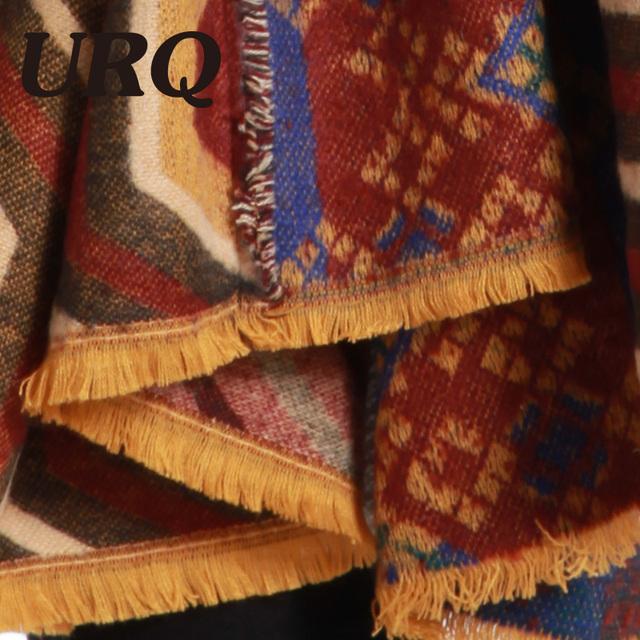 110*190 winter warm scarf for women long big size shawl wrap soft with tassel geometric tartan blanket 2017 new arrival
