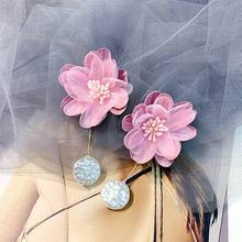 Big Pearl Cloth Flower Drop Earrings For Women 2019 New Handmade Pink White Hanging pendientes Holiday Party Jewelry Wholesale